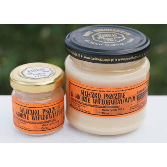 Mleczko pszczele w miodzie wielokwiatowym nierozgrzewanym z Pasieki z Pasją Hawran - 260 g - kremowane na zimno - słoik szklany